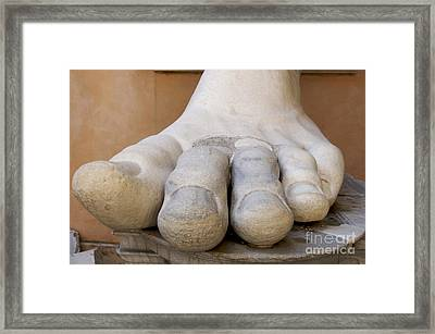 Gigantic Foot From The Statue Of Constantine. Rome. Italy. Framed Print by Bernard Jaubert