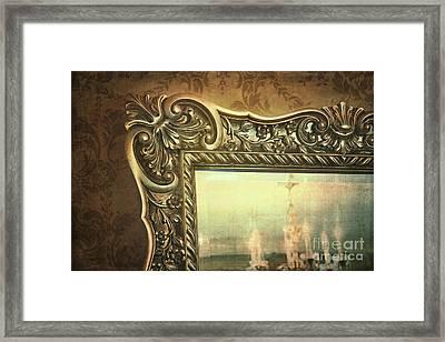 Gilded Mirror Reflection Of Chandelier Framed Print by Sandra Cunningham