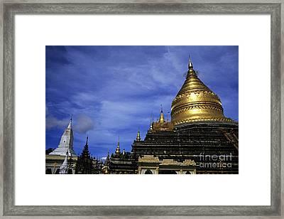 Gilded Stupa Of The Shwezigon Pagoda In Bagan Framed Print by Sami Sarkis