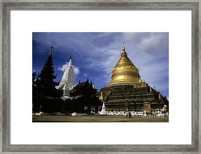 Gilded Stupa Of The Shwezigon Pagoda Framed Print by Sami Sarkis