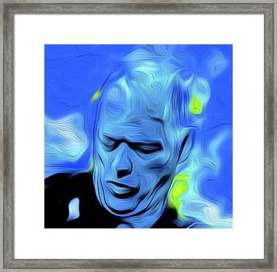 Gilmour Blue Nixo Framed Print by Nicholas Nixo