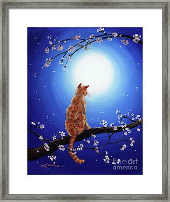 Ginger Cat In Blue Moonlight Framed Print by Laura Iverson