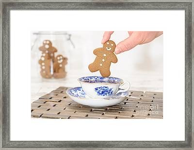 Gingerbread In Teacup Framed Print by Amanda Elwell