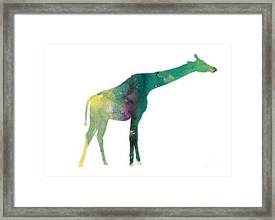 Giraffe Colorful Watercolor Painting Framed Print by Joanna Szmerdt