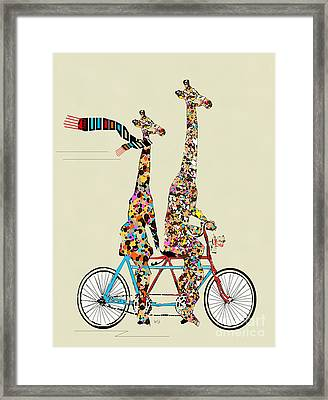 Giraffe Days Lets Tandem Framed Print by Bri B