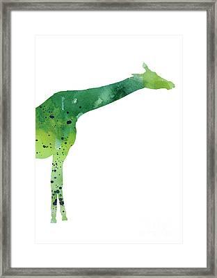 Giraffe Drawing Watercolor Art Print Framed Print by Joanna Szmerdt