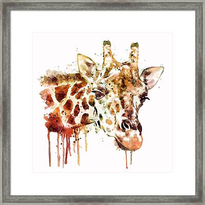 Giraffe Head Framed Print by Marian Voicu
