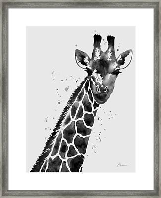 Giraffe In Black And White Framed Print by Hailey E Herrera