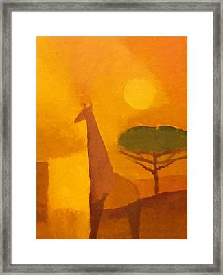 Giraffe Framed Print by Lutz Baar