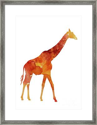 Giraffe Minimalist Painting For Sale Framed Print by Joanna Szmerdt