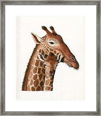 Giraffe- Protect Our Children Wildlife Painting Framed Print by Linda Apple