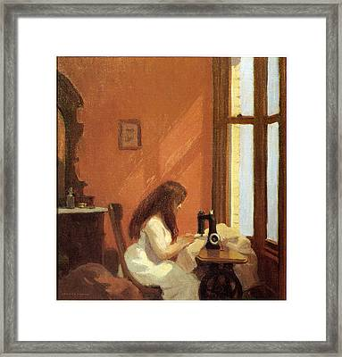 Girl At Sewing Machine Framed Print by Edward Hopper