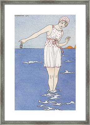 Girl At The Beach Framed Print by Georges Barbier