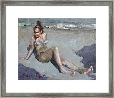 Girl At The Beach  Framed Print by Ylli Haruni