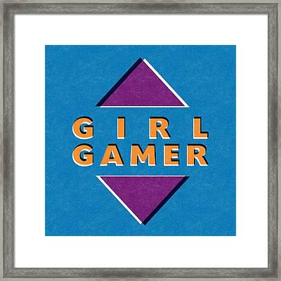 Girl Gamer Framed Print by Linda Woods
