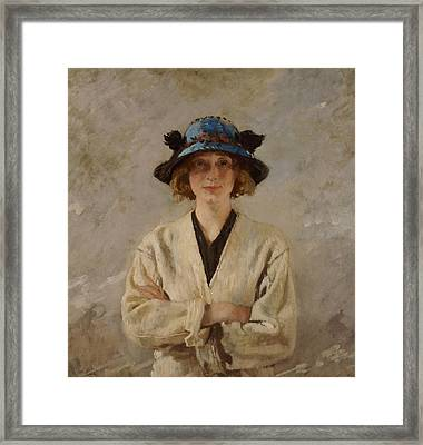 Girl In A Blue Hat, 1912 Framed Print by Sir William Orpen