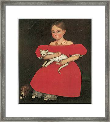 Girl In Red With Her Cat And Dog Framed Print by Ammi Phillips