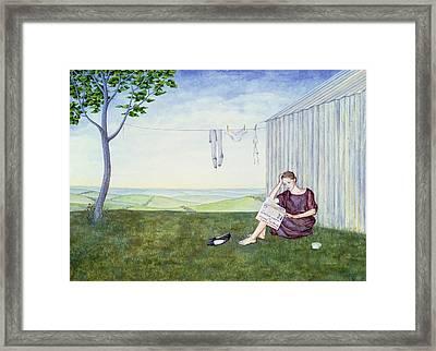 Girl In The Garden Framed Print by Ditz