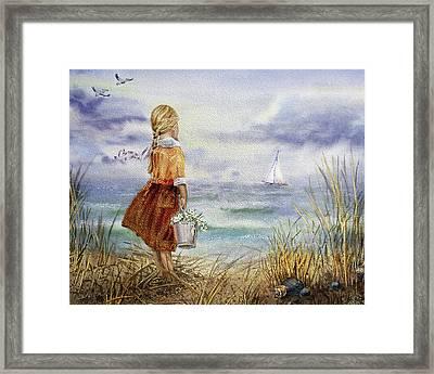 Girl Ocean Shore Birds And Seashell Framed Print by Irina Sztukowski