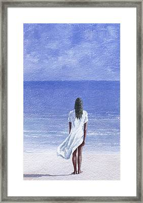 Girl On Beach Framed Print by Lincoln Seligman