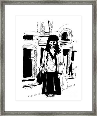 Girl On Street Framed Print by Cristina Jaco