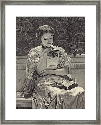 Girl Reading Framed Print by Charles Edward Perugini