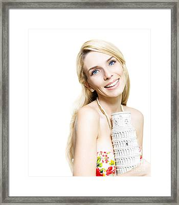 Girl Reminiscing A Trip To Europe With A Memento Framed Print by Jorgo Photography - Wall Art Gallery