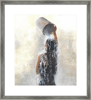 Girl Showering Framed Print by Lincoln Seligman