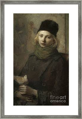 Girl With A Dove Highres Framed Print by Celestial Images