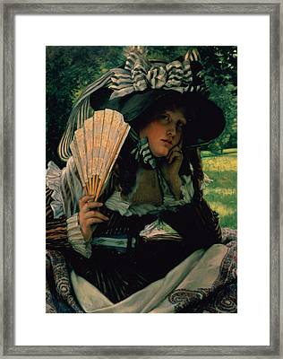 Girl With A Fan Framed Print by James Jacques Joseph Tissot