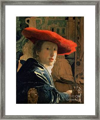Girl With A Red Hat Framed Print by Jan Vermeer
