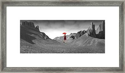 Girl With A Red Umbrella 2 Framed Print by Mike McGlothlen