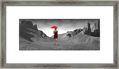 Girl With A Red Umbrella 3 Framed Print by Mike McGlothlen