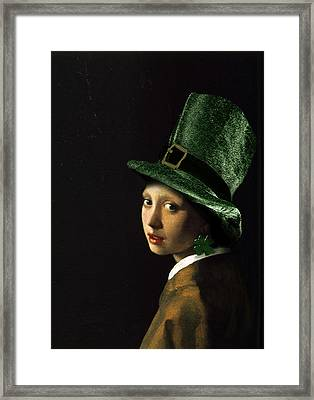 Girl With A Shamrock Earring Framed Print by Gravityx9   Designs