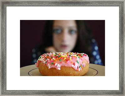 Girl With Doughnut Framed Print by Linda Woods