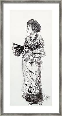Girl With Fan Framed Print by Winslow Homer