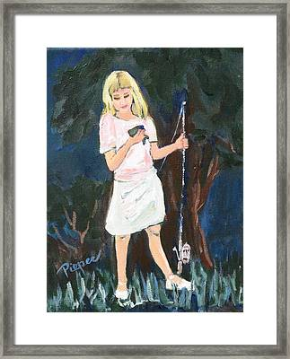 Girl With First Fish Framed Print by Betty Pieper