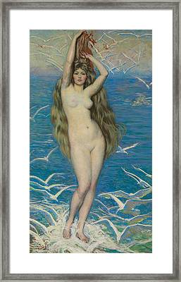 Girl With Gulls Framed Print by Philip Leslie Hale