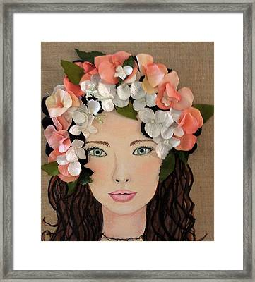 Girl With Peach Flowers Framed Print by Katy Auna