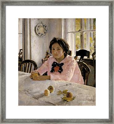 Girl With Peaches Framed Print by Celestial Images