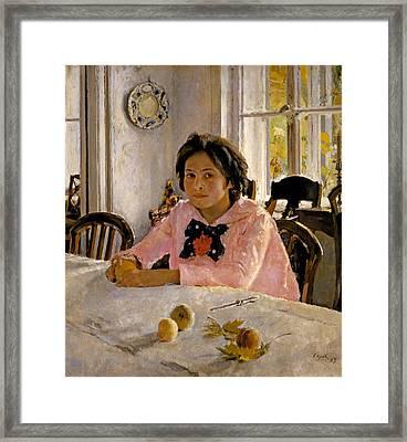 Girl With Peaches. Portrait Of V.s. Mamontova Framed Print by Valentin Alexandrovich Serov
