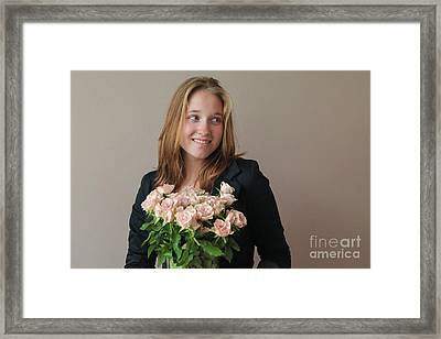 Girl With Pink Roses Framed Print by Patricia Hofmeester