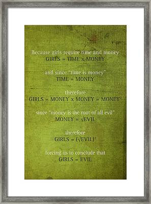 Girls Are Evil Proof Formula Math Humor Nerd Art Poster Framed Print by Design Turnpike