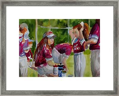 Girls Softball  Framed Print by Linda Emerson