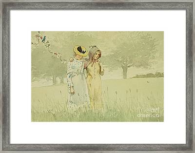 Girls Strolling In An Orchard Framed Print by Winslow Homer