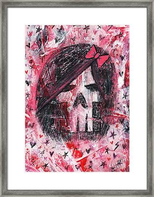 Girly Scene Skull Framed Print by Roseanne Jones