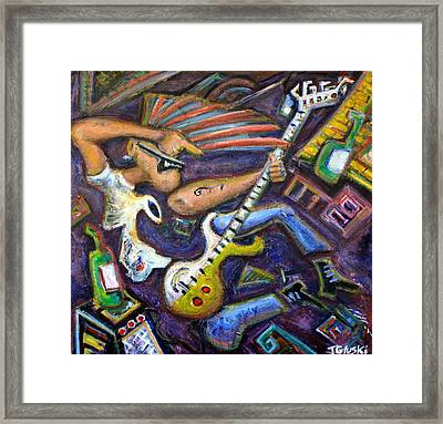 Give Em The Boot - Punk Rock Cubism Framed Print by Jason Gluskin