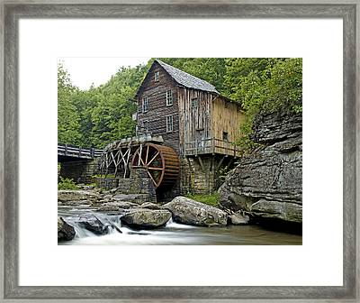 Glade Creek Grist Mill Located In Babcock State Park West Virginia Framed Print by Brendan Reals
