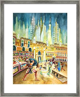 Gladiators In Coliseum From Rome Of Tomorrow Framed Print by Miki De Goodaboom