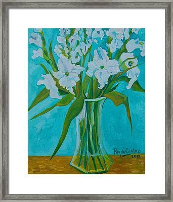 Gladiolas On Blue Framed Print by Pilar Rey de Castro